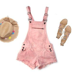 GUESS Pink Acid Wash Frayed Overall Shorts Romper